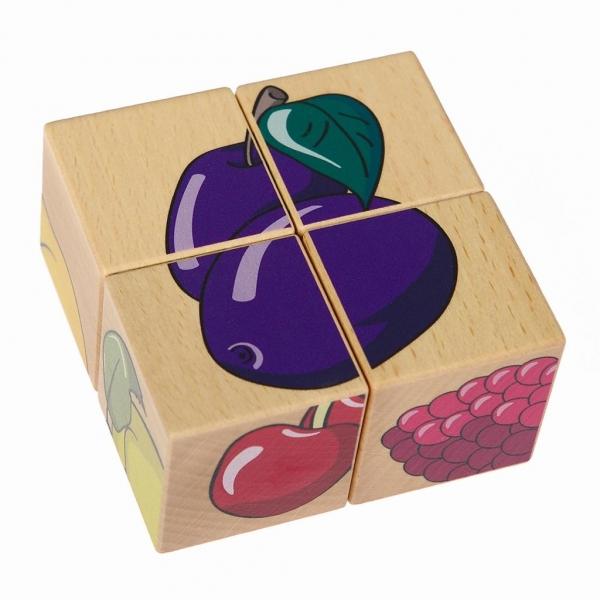 Układanka przestrzenna 4 klocki - Owoce