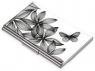 Etui na wizytówki TROIKA Black Flowers - chromowany metal z designerskim