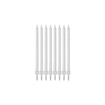 Świeczka urodzinowa Godan srebrne z podstawkami 10 cm / 8 sztuk (PF-SUSR)