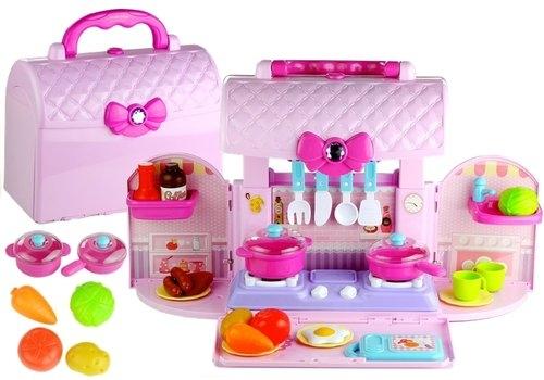 Rozkładana kuchnia w walizce palniki akcesoria róż