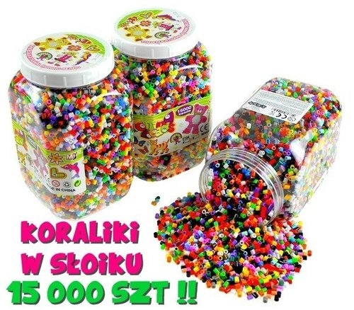Kolorowe koraliki w słoiku 15 000 sztuk