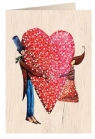 Karnet drewniany C6 + koperta Ślub duże serce