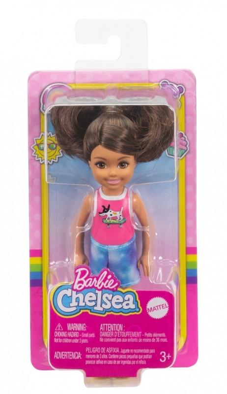 Lalka Barbie Chelsea i przyjaciele Mała lalka Różowa koszulka piesek + spodenki/Brązowe włosy (DWJ33/GXT40)