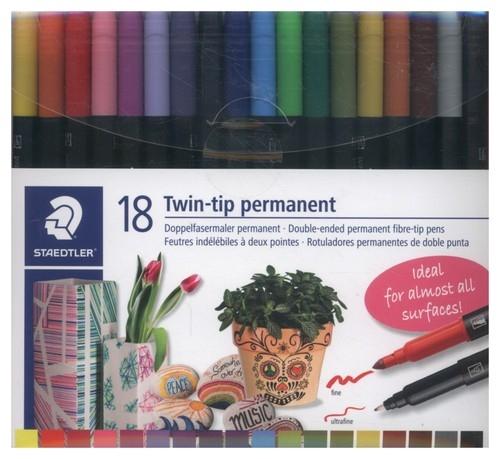 Flamastry dwustronne wodoodporne Twin-tip 18 kolorów