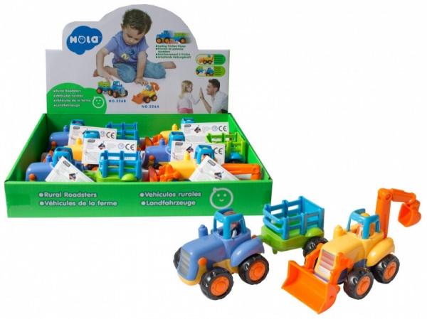 Pojazdy Traktorek z przyczepą i koparka Display 6 sztuk (107936DIS)