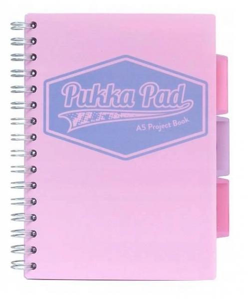 Kołozeszyt Pukka Pad A5 Project Book, 100 kartkowy, kratka, różowy (8631S(PK)-GLE)