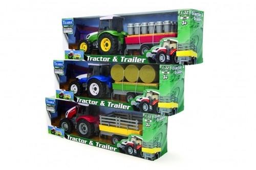 Traktor niebieski + przyczepa z sianem 1:32