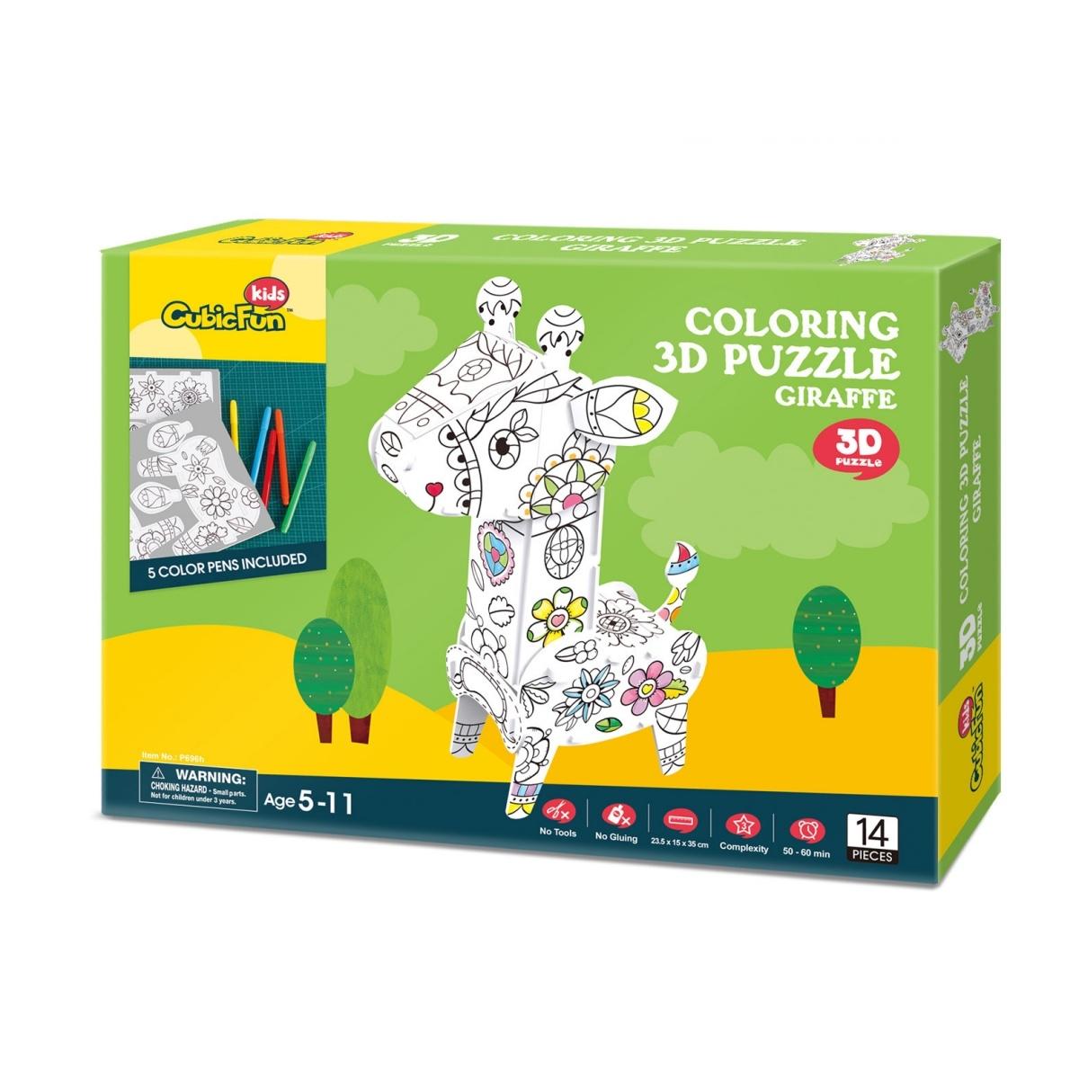 Puzzle 3D: Zestaw do kolorowania - żyrafa (306-20696)