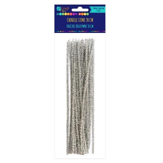 Druciki kreatywne, 25 szt. x 30cm - srebrne (KSDR-031)