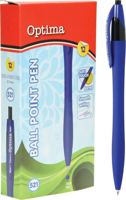 Długopis OPTIMA Soft Touch 521 niebieski 12 sztuk