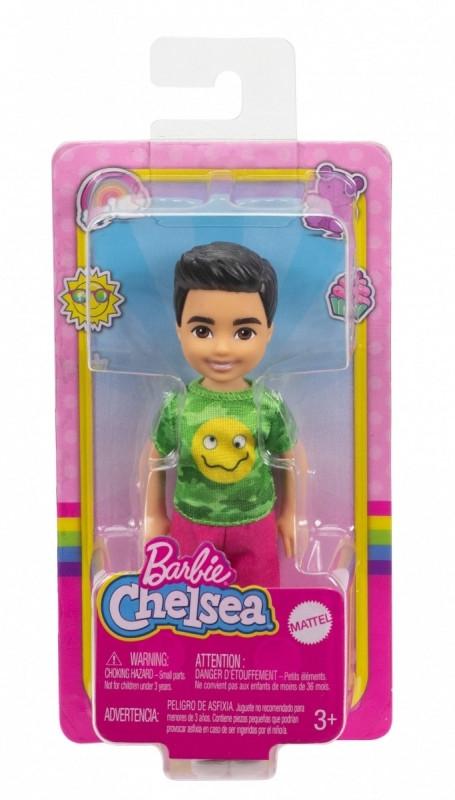 Lalka Barbie Chelsea i przyjaciele Mała lalka Chłopiec Zielona koszulka/Ciemne włosy (DWJ33/GXT37)