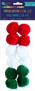 Pompony akrylowe 3,5 cm mix świąteczny, 12 szt.