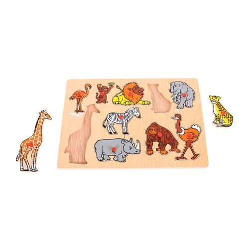 Drewniana układanka z uchwytami puzzle Dzikie zwierzęta