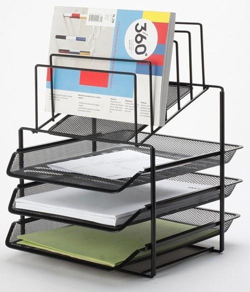 Zestaw na biurko z sorterem dokumentów 3 szufladki metalowy