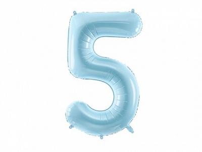 Balon foliowy Partydeco cyfra 5, jasnoniebieski 86 cm (FB1P-5-001J)