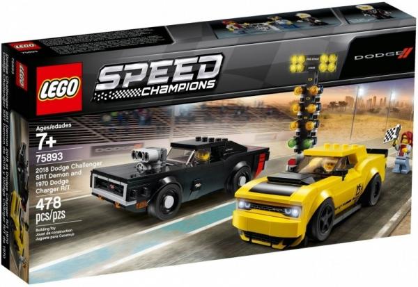Klocki Speed Champions 2018 Dodge Challenger SRT Demon oraz 1970 Dodge Charger R/T (75893)