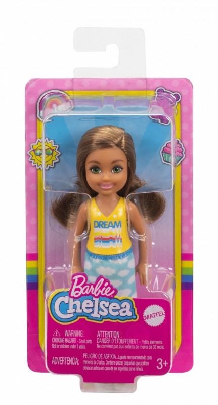 Lalka Barbie Chelsea i przyjaciele Mała lalka Żółto-niebieski strój/Brązowe włosy (DWJ33/GXT36)