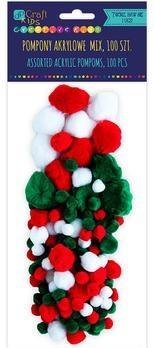 Pompony akrylowe mix świąteczny (100 szt)