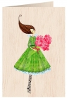 Karnet drewniany C6 + koperta Kobieta z bukietem