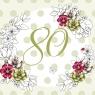 Karnet Swarovski kwadrat Urodziny 80 kwiaty CL1480