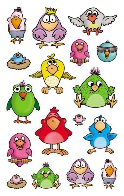 Naklejki metaliczne dla dzieci - Ptaki (56797)
