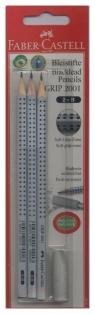 Ołówek grafitowy Grip 2001 2B 3 sztuki z gumką