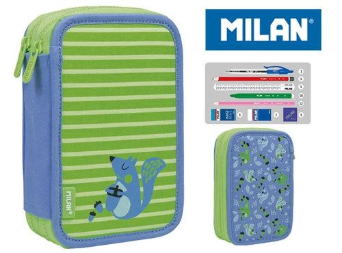 Piórnik MILAN 2-poziomowy z wyposażeniem COCONUT zielony
