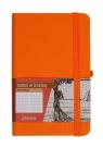Notes A6 z gumką Secesja kratka pomarańczowy