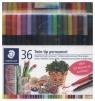 Flamastry dwustronne wodoodporne Twin-tip 36 kolorów