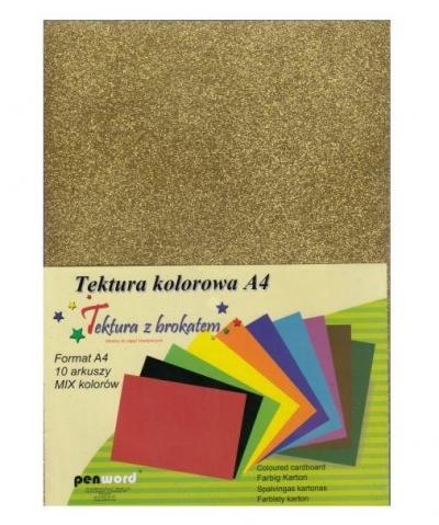 Tektura brokat gładka A4 mix kolorów