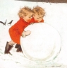 Karnet kwadrat z kopertą Święta Rolling the Snowball
