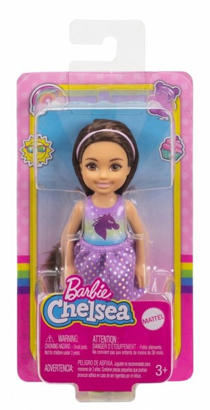Lalka Barbie Chelsea i przyjaciele Mała lalka Niebiesko-fioletowy strój jednorożec/Czarne włosy (DWJ33/GXT39)
