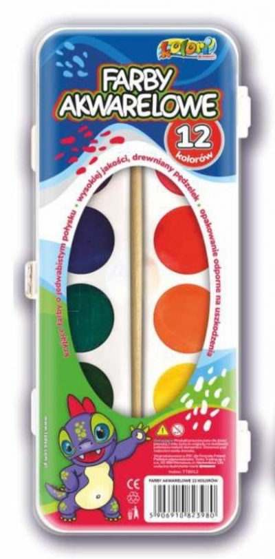 Farby akwarelowe Dino 12 kolorów PENMATE