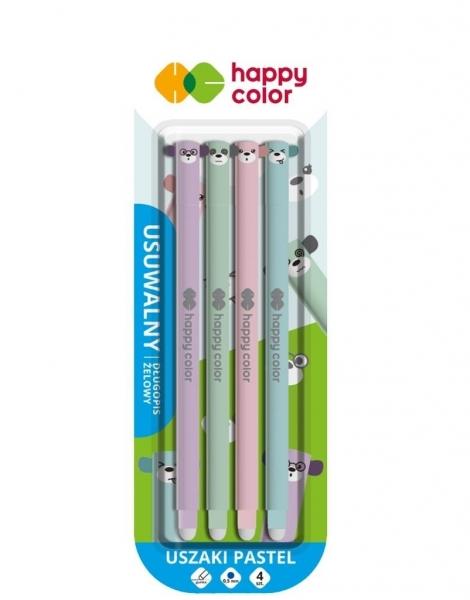 Długopis usuwalny Uszaki Pastel 0,5mm, 4 szt. - niebieski (4120 01UP-3 BK4)