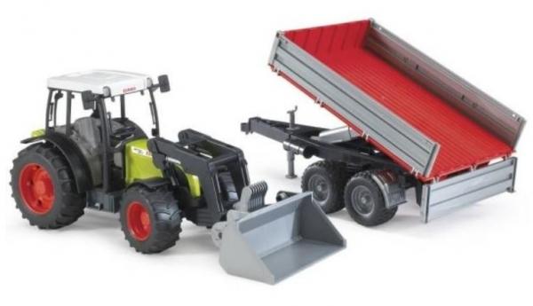 Pojazd Traktor Claas Nectis 267F z ładowarką i przyczepą (BR-01998)