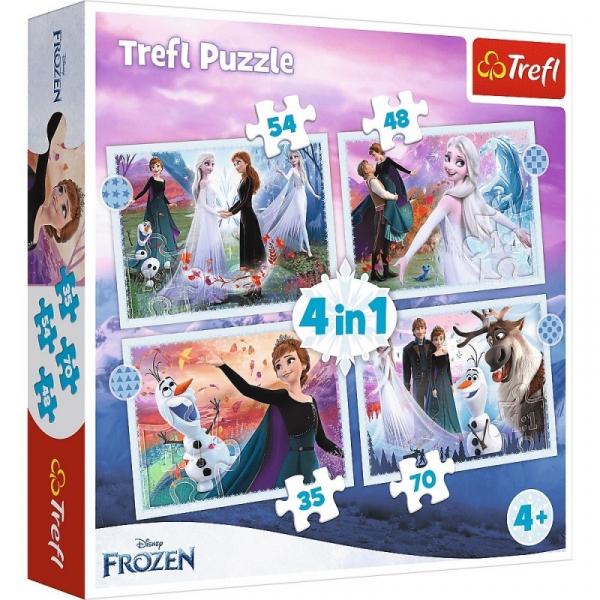 Puzzle 4w1 Magia w lesie Kraina Lodu Frozen 2 (34398)