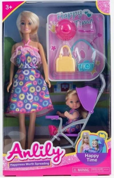 Lalka Anlily 30 cm z dzieckiem w wózku + akcesoria