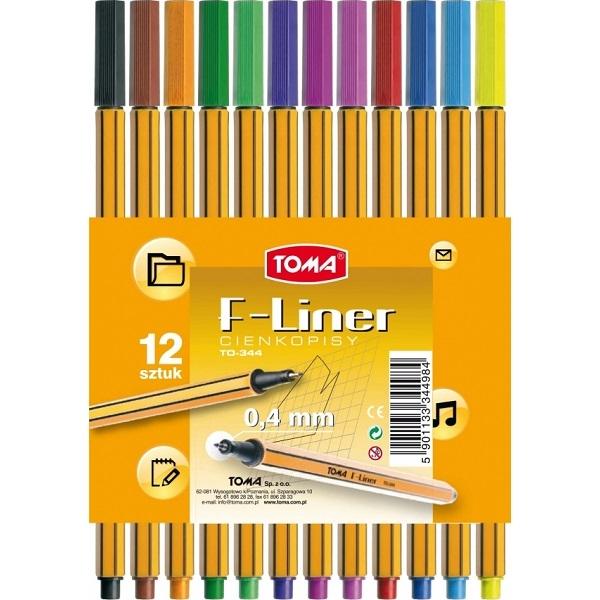 Cienkopisy Toma F-Liner 0,4mm, 12 kolorów