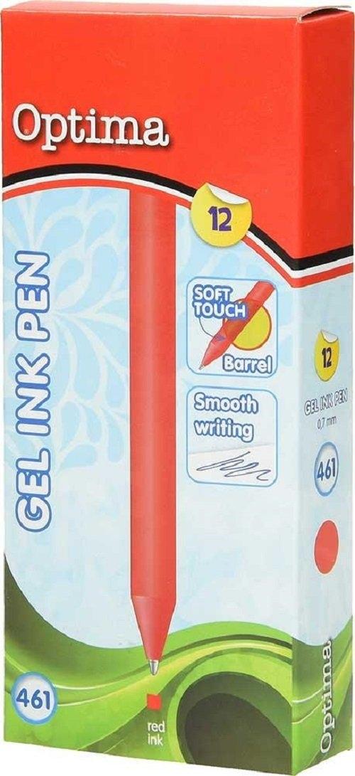Długopis żelowy OPTIMA 0,7 czerwony 12 sztuk