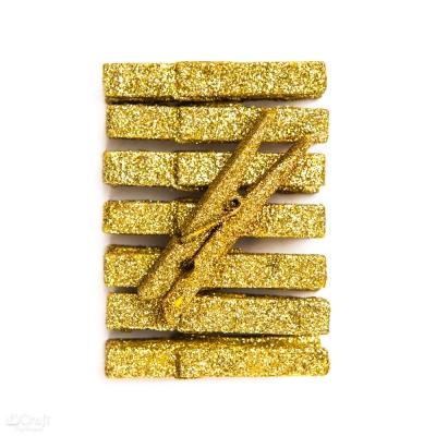 Klamerki brokatowe złote, 8 szt