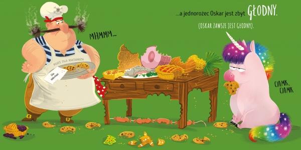 Oskar głodny jednorożec zjada święta Carter Lou