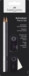 Zestaw Sparkle&Sleeve biały czarny 2 x ołówek temperówka gumka