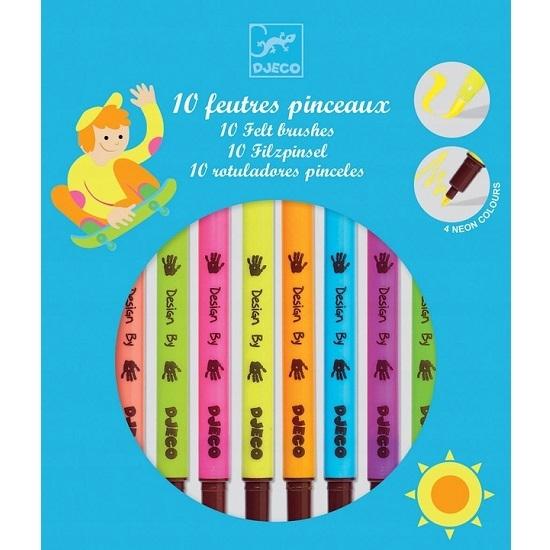 Flamastry dwustronne Djeco, 10 kolorów - neon (DJ08799)