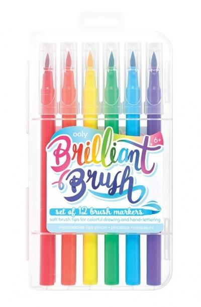 Flamastry pędzelkowe Brilliant Brush 6 kolorów