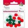 Pompony akrylowe, 24 szt. - 3 kolory (338616)