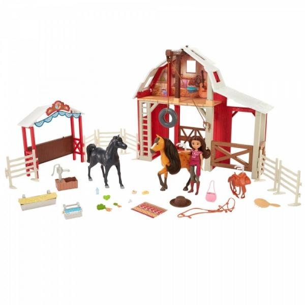 Zestaw duży Mustang: Duch wolności Stajnia + lalka i 2 konie (HBT16)