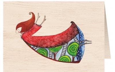 Karnet drewniany C6 + koperta Kobieta w czerwonej